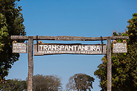 Sign at the entrance to the Trans-Pantanal Highway in Brazil.