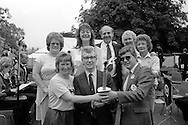 Rodney Bickerstaffe NUPE Gen Sec hands over the NHS Relay torch to Paul Jagger Yorks & Humberside Regional TUC Sec and NUPE member Jackie Milner. Also present is Regional TUC President and NUPE Divisional Organiser Reg French.1988 Yorkshire Miner's Gala. Wakefield.