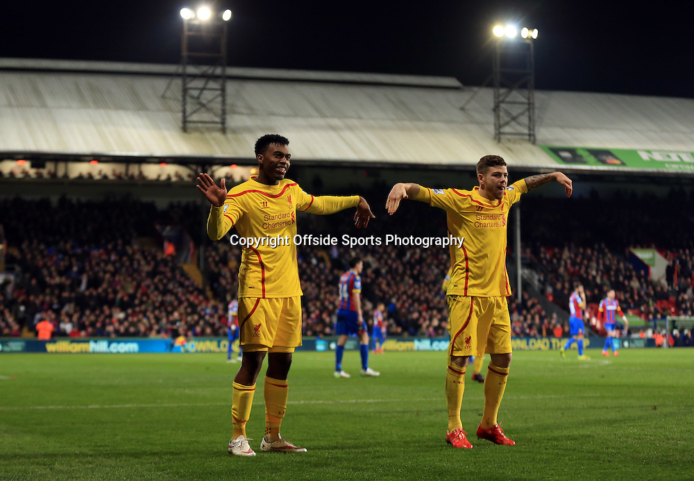 14 February 2015 - The FA Cup Fifth Round - Crystal Palace v Liverpool - Daniel Sturridge of Liverpool celebrates scoring a goal to make it 1-1 with Alberto Moreno - Photo: Marc Atkins / Offside.