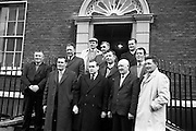 08/02/1963<br /> 02/08/1963<br /> 08 February 1963<br /> Deputation to the Department of Fisheries. Southern Fishermen who were among the attendance at the Department of Fisheries, Dublin to discuss with officials the extension of the Irish fishing limits to 12 miles pictured arriving for the meeting. Included are Mr. Dan Griffin, (Cork); Mr. Michael Doran (Wexford); Mr. Joseph Scallan (Kilmore); Mr. Stephen White (Dunmore); Mr. L. Lett (Wexford) and Mr. Ronan Mallen (Arklow and Dun Laoghaire).