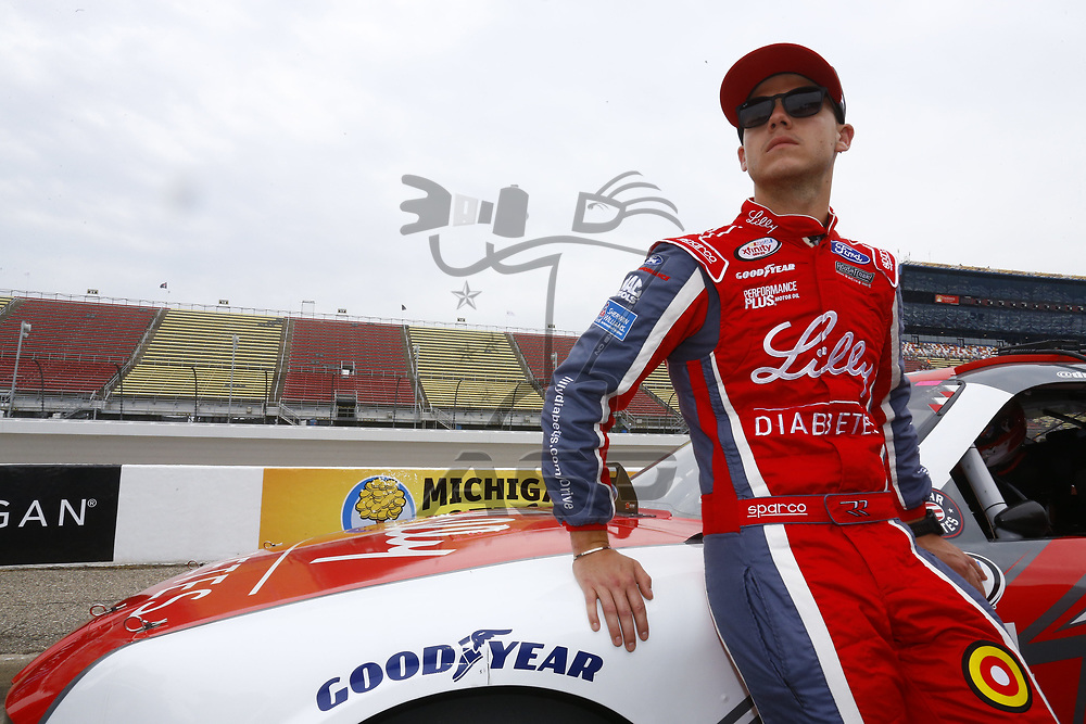 June 17, 2017 - Brooklyn, MI, USA: Ryan Reed (16) hangs out on pit road during qualifying for the Irish Hills 250 at Michigan International Speedway in Brooklyn, MI.