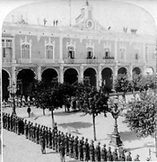 American and Spanish soldiers, in front of the Captain-General's Palace, Havana, Jan. 1st, 1899