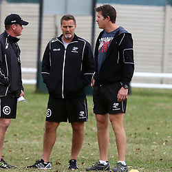 DURBAN, SOUTH AFRICA, 1 August, 2016 - Sean Everitt (Assistant Coach) of the Cell C Sharks with Robert du Preez (Head Coach) of the Cell C Sharks and Ryan Strudwick (Assistant Coach) of the Cell C Sharks during The Cell C Sharks Currie Cup training session at Growthpoint Kings Park in Durban, South Africa. (Photo by Steve Haag)<br /> <br /> images for social media must have consent from Steve Haag