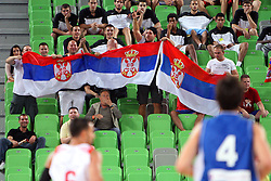 Fans of Serbia at friendly match between Serbia and Croatia for Adecco Cup 2011 as part of exhibition games before European Championship Lithuania on August 9, 2011, in SRC Stozice, Ljubljana, Slovenia. (Photo by Urban Urbanc / Sportida)