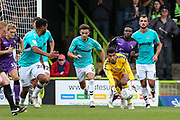 Forest Green Rovers goalkeeper Robert Sanchez(1) quickly releases the ball to Forest Green Rovers Reuben Reid(26) during the EFL Sky Bet League 2 match between Forest Green Rovers and Port Vale at the New Lawn, Forest Green, United Kingdom on 8 September 2018.