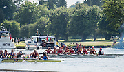 Henley. Berks, United Kingdom. <br /> <br /> Women's Elite Eight, Ohio State University, winning the final at the 2017 Henley' Women's Regatta. Rowing on, Henley Reach. River Thames. <br /> <br /> <br /> Sunday  18/06/2017<br /> <br /> <br /> [Mandatory Credit Peter SPURRIER/Intersport Images]