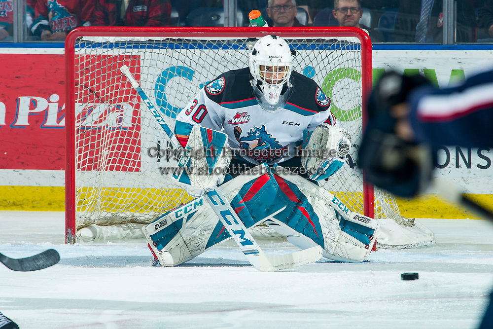 KELOWNA, BC - FEBRUARY 12: Roman Basran #30 of the Kelowna Rockets defends the net during first period against the Tri-City Americans at Prospera Place on February 8, 2020 in Kelowna, Canada. (Photo by Marissa Baecker/Shoot the Breeze)
