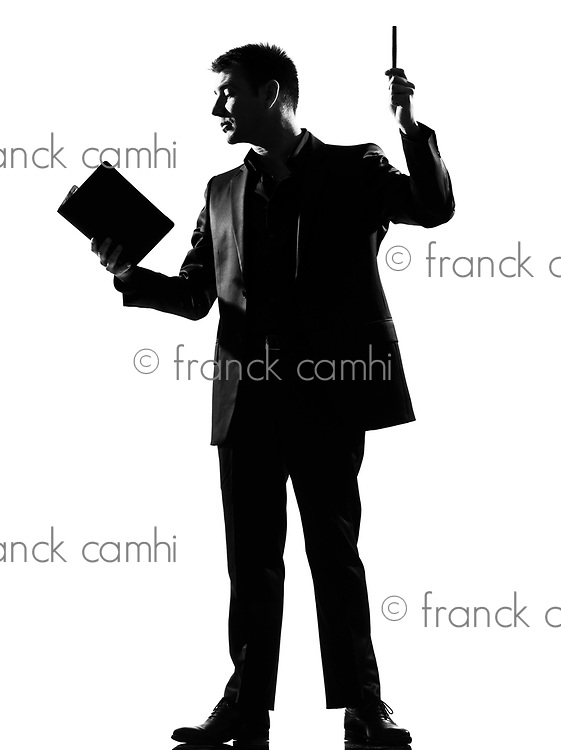silhouette caucasian business man with note pad  expressing behavior full length on studio isolated white background