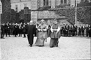 31/05/1964<br /> 05/31/1964<br /> 31 May 1964<br /> Sesquicentenary (150 yrs) celebrations at Clongowes Wood College, Co. Kildare. Leaving the Church after the celebration Mass (l-r): Very Rev. Fr. Hilary Lawton, Rector Clongowes; Most Rev. Dr. Sensi, Papal Nuncio and Most Rev. Dr. John Kyne, Bishop of Meath.