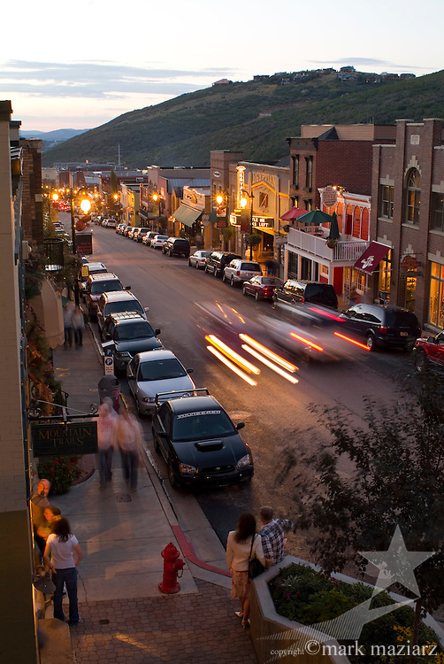 upper end of Main Street at dusk in summer