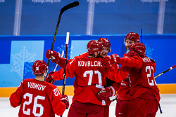 16-02-2018 KOR: Olympic Games day 7, PyeongChang<br /> Ice Hockey Russia (OAR) - Slovenia / forward Ilya Kovalchuk #71 of Olympic Athlete from Russia, defenseman Vyacheslav Voinov #26 of Olympic Athlete from Russia, forward Ilya Kablukov #29 of Olympic Athlete from Russia