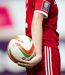 LLANELLI, WALES - Wednesday, April 9, 2014: Wales in action against Ukraine during the FIFA Women's World Cup Canada 2015 Qualifying Group 6 match at Parc-y-Scarlets. (Pic by David Rawcliffe/Propaganda)