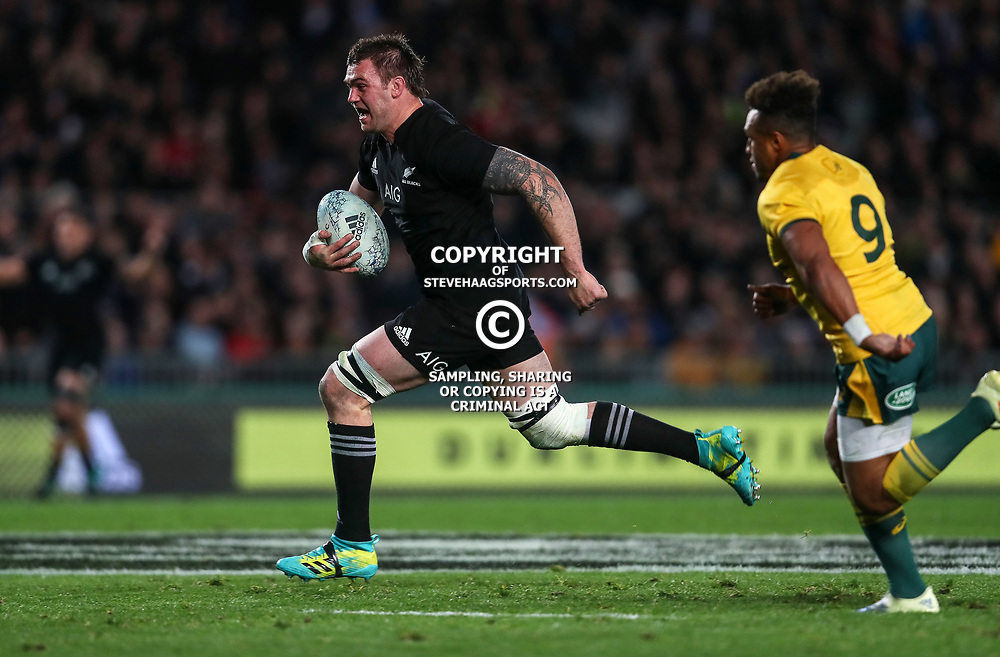 Liam Squire scores a try during the Bledisloe Cup and Rugby Championship rugby match between the New Zealand All Blacks and Australia Wallabies at Eden Park in Auckland, New Zealand on Saturday, 25 August 2018. Photo: Simon Watts / lintottphoto.co.nz