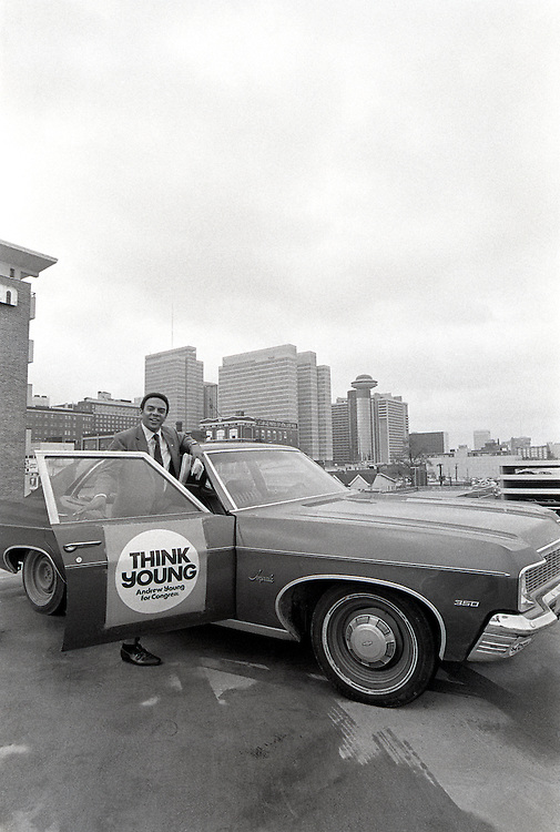 Andrew J. Young - who would later become mayor of Atlanta and U.S. Ambassador to the United Nations - stumps for votes during his bid for Congress in 1970 from Georgia's 5th Congressional district. Andrew Jackson Young, born March 12, 1932, is an American politician, diplomat, activist and pastor from Georgia. He has served as a Congressman from Georgia's 5th congressional district, the United States Ambassador to the United Nations, and Mayor of Atlanta. He served as President of the National Council of Churches USA, was a member of the Southern Christian Leadership Conference (SCLC) during the 1960s Civil Rights Movement, and was a supporter and friend of Dr. Martin Luther King, Jr. (Young is second from left in this image) - To license this image, click on the shopping cart below -