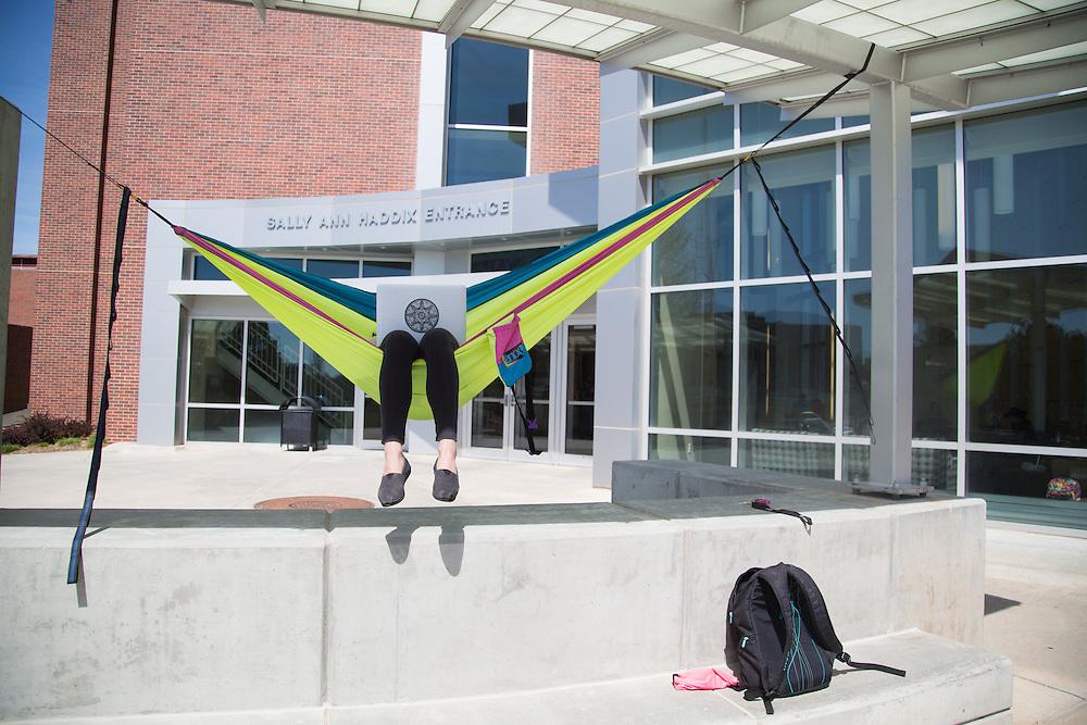 hammock in front of Roskens Hall<br /> April 14, 2016