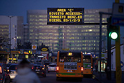 "A light panel indicates to motorists that in the ""C"" area is the denial of access and transit for cars with petrol engine euro 0 and diesel euro 0-1-2-3, Milan, February 2012. ""C"" is an area in the city center accessible by car only by paying an entrance ticket of € 5. © Carlo Cerchioli..Un pannello luminoso segnala agli automobilisti che nell'area ""C"" c'è il divieto di accesso e transito per le automobili con motore a benzina euro 0 e diesel euro 0-1-2-3, Milano febbraio 2012. L'area ""C"" al centro della città è accessibile in automobile solo pagando un ticket ingresso di 5€."