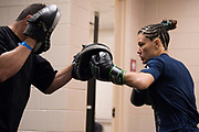 DALLAS, TX - MAY 13:  Cortney Casey warms up in the locker room before fighting Jessica Aguilar during UFC 211 at the American Airlines Center on May 13, 2017 in Dallas, Texas. (Photo by Cooper Neill/Zuffa LLC/Zuffa LLC via Getty Images) *** Local Caption *** Cortney Casey