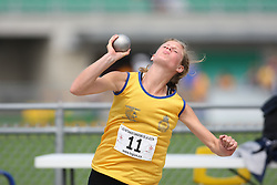 (Sherbrooke, Quebec---10 August 2008) Nicole Oudenaarden competing in the heptathlon shot put at the 2008 Canadian National Youth and Royal Canadian Legion Track and Field Championships in Sherbrooke, Quebec. The photograph is copyright Sean Burges/Mundo Sport Images, 2008. More information can be found at www.msievents.com.