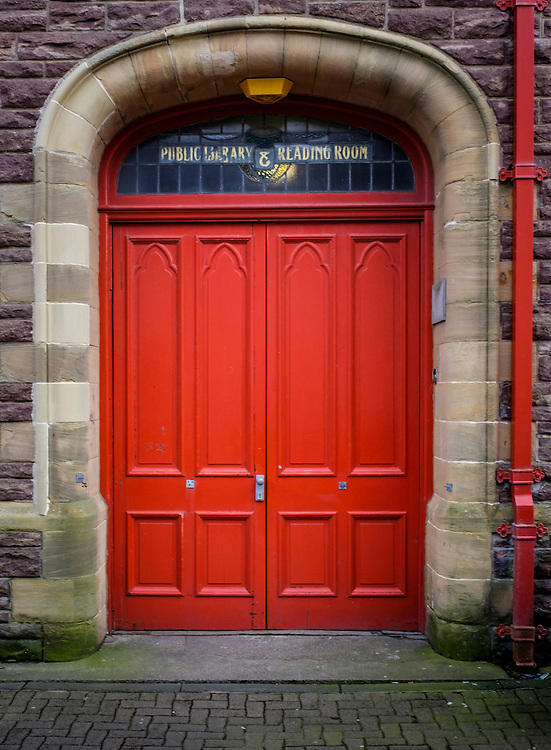 LEWIS AND HARRIS, SCOTLAND - CIRCA APRIL 2016: Door of the public Library in Stornoway one of the major towns of outer islands of Lewis and Harris in Scotland..