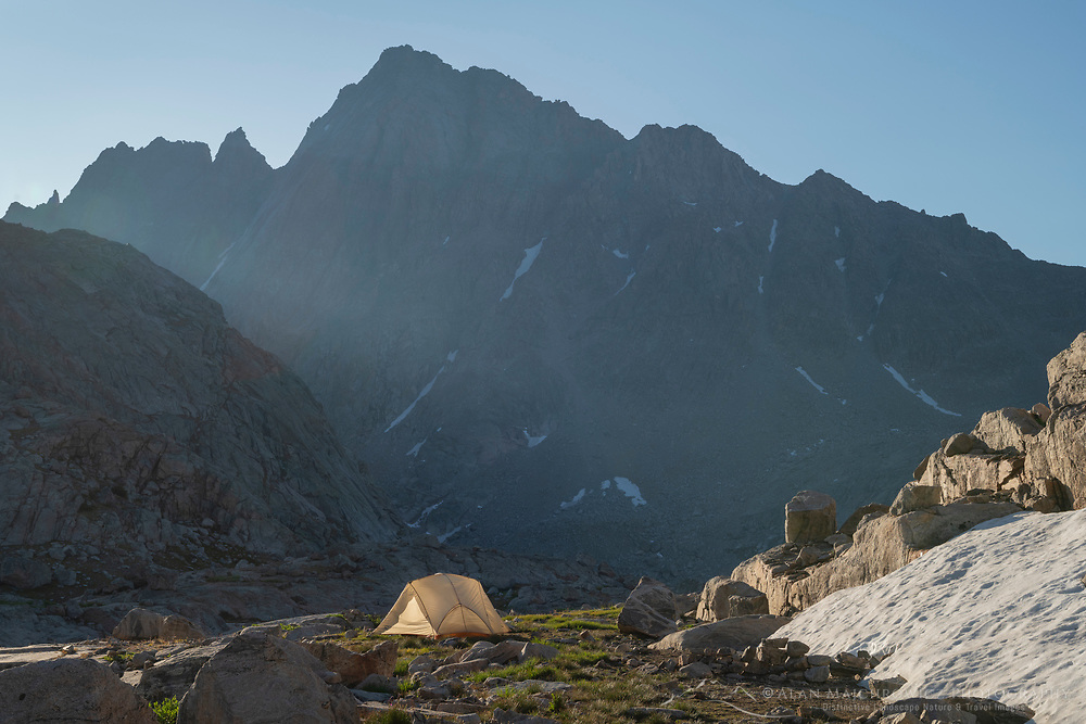 Backcountry camp in Indian Basin, Harrower Peak is in the distance, Bridger Wilderness,  Wind River Range Wyoming