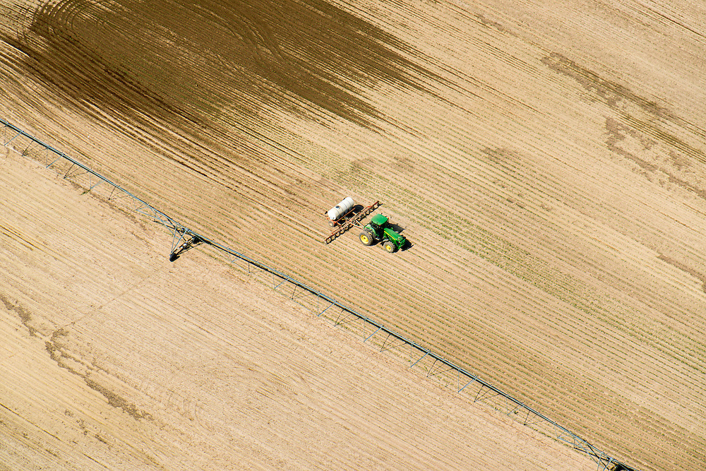Aerial of spray application in agricultural field on the eastern shore of Maryland, USA