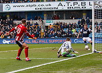 Football - 2019 / 2020 Emirates FA Cup - Fourth Round: Millwall vs. Sheffield United<br /> <br /> Billy Sharp (Sheffield United) sees his shot beat the keeper only to be cleared on the line by James Brown (Millwall FC) at The Den.<br /> <br /> COLORSPORT/DANIEL BEARHAM