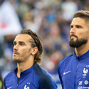 PARIS, FRANCE - September 10:  Antoine Griezmann #7 of France and Olivier Giroud #9 of France during team presentations before kick off during the France V Andorra, UEFA European Championship 2020 Qualifying match at Stade de France on September 10th 2019 in Paris, France (Photo by Tim Clayton/Corbis via Getty Images)