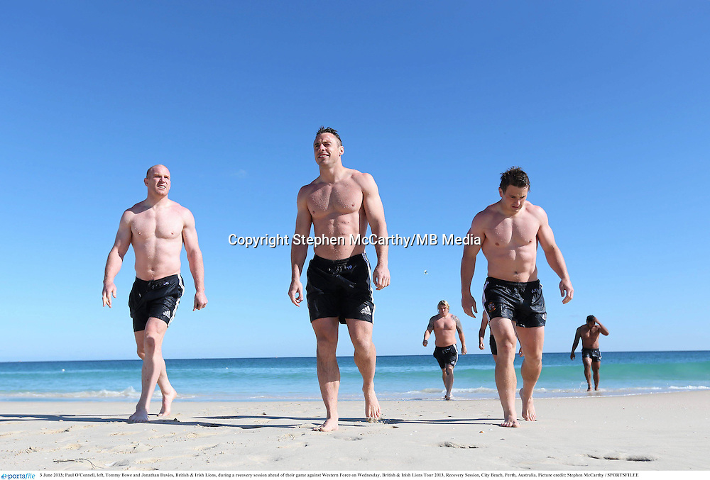 3 June 2013; Paul O'Connell, left, Tommy Bowe and Jonathan Davies, British & Irish Lions, during a recovery session ahead of their game against Western Force on Wednesday. British & Irish Lions Tour 2013, Recovery Session, City Beach, Perth, Australia. Picture credit: Stephen McCarthy / SPORTSFILEE