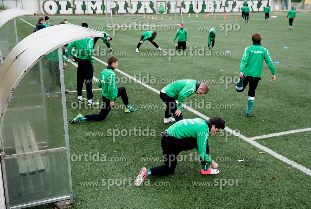 Players of NK Olimpija Ljubljana exercise during the first day of team Spring Training on January 7, 2013 in Ljubljana, Slovenia. (Photo By Vid Ponikvar / Sportida.com)
