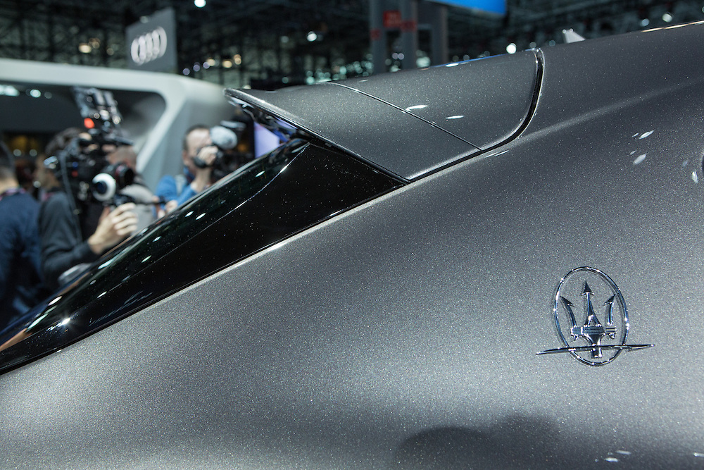 New York, NY, USA-23 March 2016. The trident on a Maserati Levante, the automaker's first foray into the luxury SUV market. The car starts at $72,000 US, and is off-road capable.