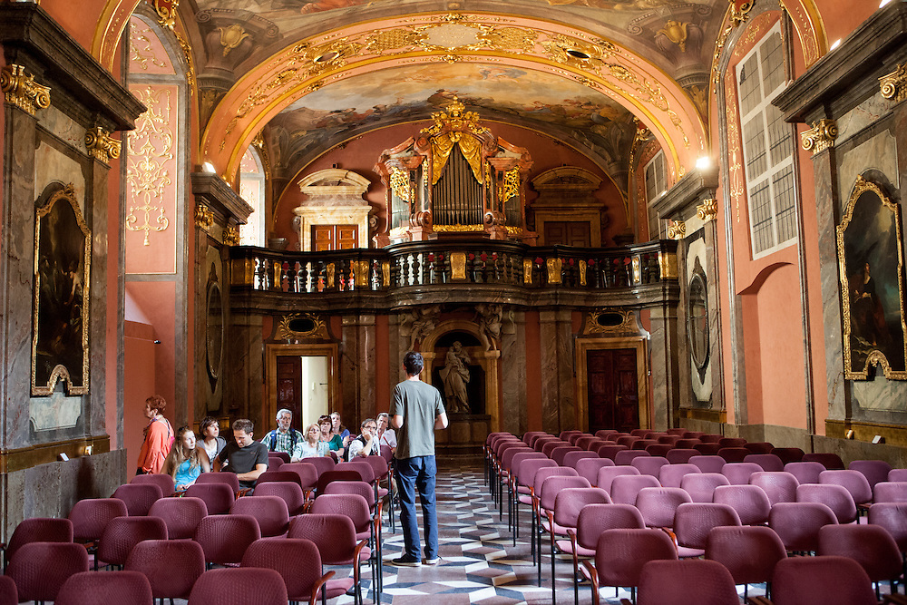 The Mirror Chapel which is a truly beautiful and unique chapel built in 1724, with extensive frescos and carvings. Houses two 18th century organs, one played by Wolfgang Amadeus Mozart on his visits to the Klementinum.