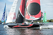 Alinghi, day one of the Cardiff Extreme Sailing Series Regatta. 22/8/2014