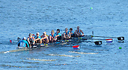 Cambridge. MA. USA. <br /> Championships Women's Eights. <br /> Cambridge BC [SUPER EIGHT] crew all Olympic and WRC medalist, move way from the Eliot Bridge, during the 49th edition of the Head of the Charles.<br /> <br /> <br /> 15:20:44  Sunday  20/10/2013  <br /> <br /> [Mandatory Credit. Peter SPURRIER /Intersport Images]<br /> <br /> Orientation: Landscape<br /> <br /> Sunrise, Sunsets, Silhouettes Landscape