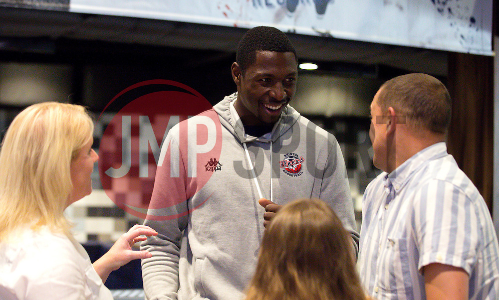 Daniel Edozie of Bristol Flyers chats to sponsors and fans - Mandatory by-line: Robbie Stephenson/JMP - 12/09/2016 - BASKETBALL - Ashton Gate Stadium - Bristol, England - Bristol Flyers Sponsors Event