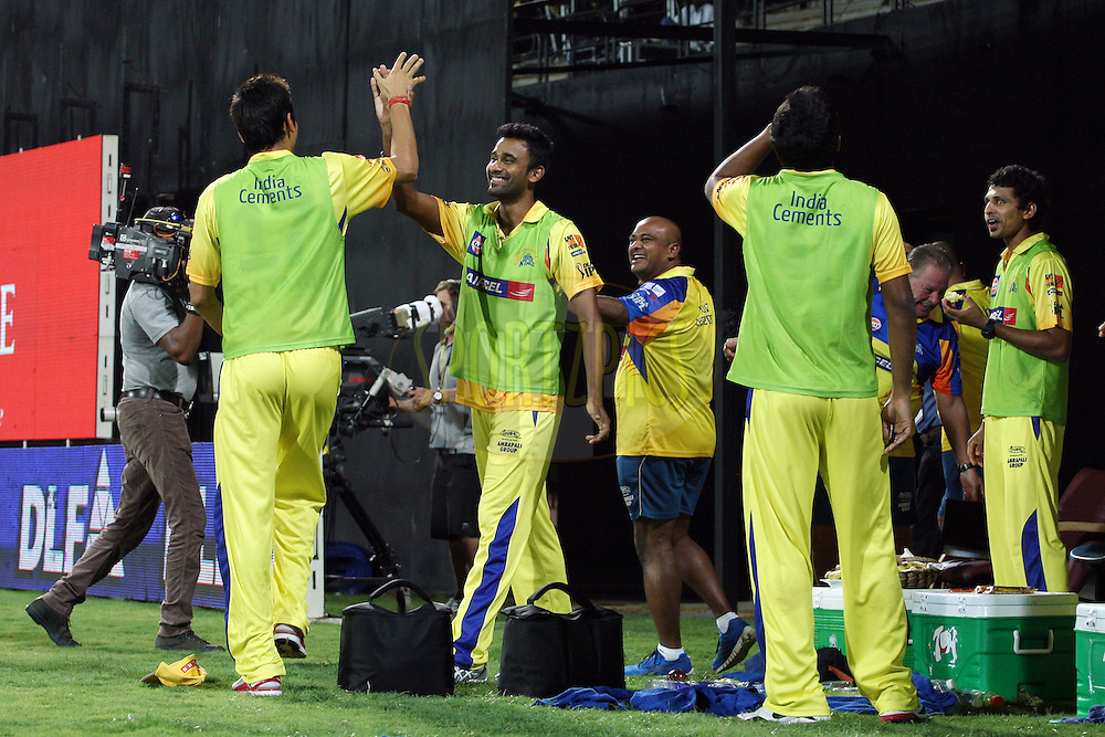 CSK dugout celebrating their victory during the second Qualifying match of the Indian Premier League ( IPL) 2012  between The Chennai Superkings and the Delhi Daredevils held at the M. A. Chidambaram Stadium, Chennai on the 25th May 2012..Photo by Jacques Rossouw/IPL/SPORTZPICS