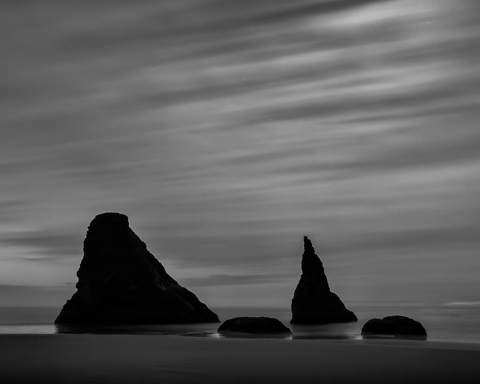 Oregon coastal fine art landscape photographs in black and white.