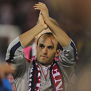 An emotional Landon Donovan, USA, salutes the crowd after his farewell match during the USA Vs Ecuador International match at Rentschler Field, Hartford, Connecticut. USA. 10th October 2014. Photo Tim Clayton
