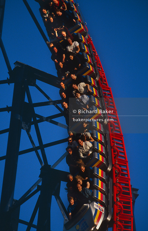 Roller-coaster fans gasp with excitement as they plunge down an almost vertical drop on the Pepsi-Max Big One, Britain's largest and the second Highest, 4th fastest Roller Coaster in Europe. It is a steel structure located at the Pleasure Beach, Blackpool, opened in 1994. Roller-coaster freaks raise their arms above their heads though one's instinct is to hold on for dear life. Although it is no longer the tallest, fastest and steepest roller coaster in the world, it is still one of the scariest roller-coaster experiences on offer. Extended caption ..