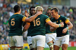 Adriaan Strauss of South Africa is congratulated on his try - Mandatory byline: Patrick Khachfe/JMP - 07966 386802 - 19/09/2015 - RUGBY UNION - Brighton Community Stadium - Brighton, England - South Africa v Japan - Rugby World Cup 2015 Pool B.