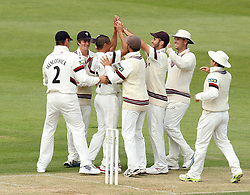 Somerset's Alfonso Thomas celebrates the wicket of Hampshire's Michael Carberry - Photo mandatory by-line: Robbie Stephenson/JMP - Mobile: 07966 386802 - 22/06/2015 - SPORT - Cricket - Southampton - The Ageas Bowl - Hampshire v Somerset - County Championship Division One