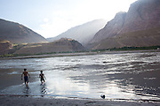 Panj River separating Tajikistan and Afghanistan, 2009.