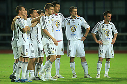 Players of Interblock during penalty shots at Slovenian Supercup between NK Domzale and NK Interblock, on July 9, 2008, in Domzale. Interblock won the mach and Supercup by 7 : 6 after penalty shots. (Photo by Vid Ponikvar / Sportal Images)