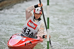 30.06.2013, Eiskanal, Augsburg, GER, ICF Kanuslalom Weltcup, Finale Kajak Teams, Frauen, im Bild Yuriko TAKESHITA (Japan), Finale, Team, Kajak, K1, Teams, Japan, Frauen // during final of the women's kayak team of ICF Canoe Slalom World Cup at the ice track, Augsburg, Germany on 2013/06/30. EXPA Pictures © 2013, PhotoCredit: EXPA/ Eibner/ Matthias Merz<br /> <br /> ***** ATTENTION - OUT OF GER *****