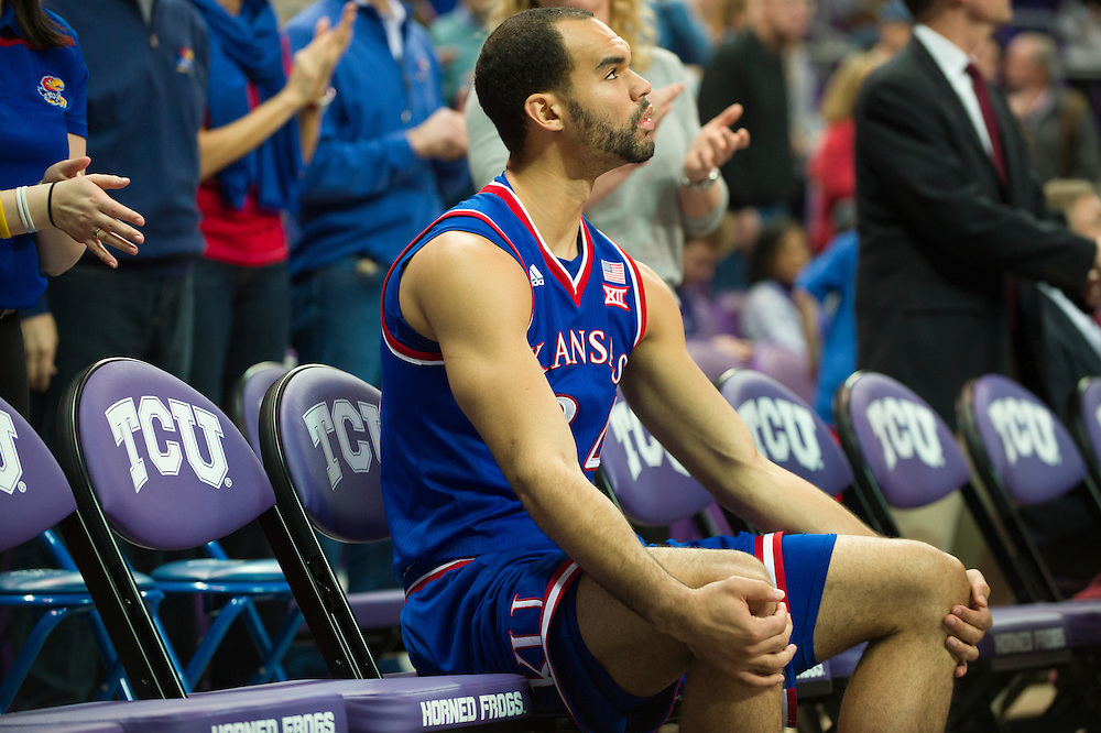 FORT WORTH, TX - FEBRUARY 6: Perry Ellis #34 of the Kansas Jayhawks waits to be announced before tip-off against the TCU Horned Frogs on February 6, 2016 at the Ed and Rae Schollmaier Arena in Fort Worth, Texas.  (Photo by Cooper Neill/Getty Images) *** Local Caption *** Perry Ellis