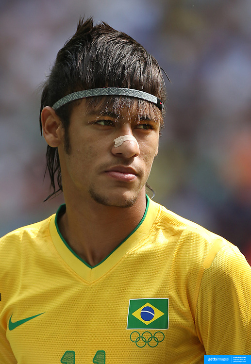 Neymar, Brazil, during the Brazil V Mexico Gold Medal Men's Football match at Wembley Stadium during the London 2012 Olympic games. London, UK. 11th August 2012. Photo Tim Clayton