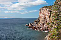 Sea cliff, over 300' tall, overlooking the chilly waters of Lake Superior along the North Shore of Minnesota.