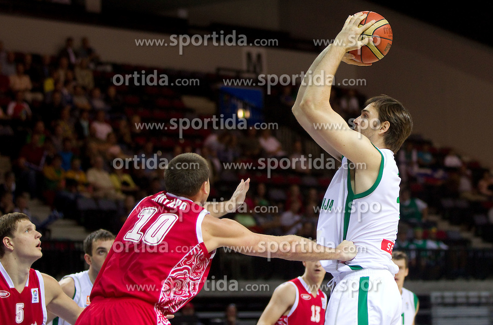 Victor Khryapa of Russia vs Erazem Lorbek of Slovenia during basketball match between National teams of Slovenia and Slovenia in Group D of Preliminary Round of Eurobasket Lithuania 2011, on September 5, 2011, in Arena Svyturio, Klaipeda, Lithuania.  (Photo by Vid Ponikvar / Sportida)