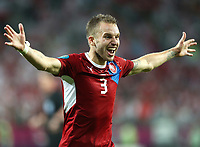 Fotball<br /> 16.06.2012<br /> EM 2012<br /> Polen v Tsjekkia<br /> Foto: Gepa/Digitalsport<br /> NORWAY ONLY<br /> <br /> UEFA Europameisterschaft 2012 in Polen und der Ukraine, Laenderspiel, Gruppenphase, Tschechien vs Polen. <br /> <br /> Bild zeigt den Jubel von Michal Kadlec (CZE).