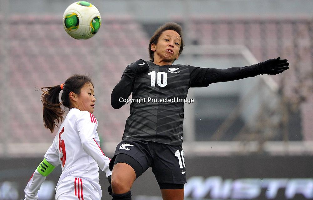 Feb 11, 2014; Yongchuan, CHINA; China defeats New Zealand 1:0 during a match at the 2014 Yongchuan International Women's Football Tournament.
