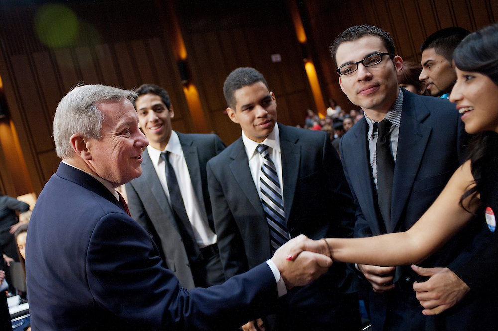 """Senator DICK DURBIN (D-IL) greets proponents of the DREAM Act before a Senate Judiciary Committee hearing on """"The DREAM (Development, Relief and Education for Alien Minors) Act."""""""